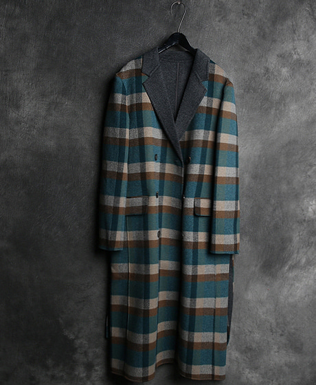 JK-7879G. COLOR SCHEME CHECK PATTERN DOUBLE HAND MADE COATG. 배색 체크 패턴 더블 핸드메이드 코트Color : 2 colorMaterial : wool