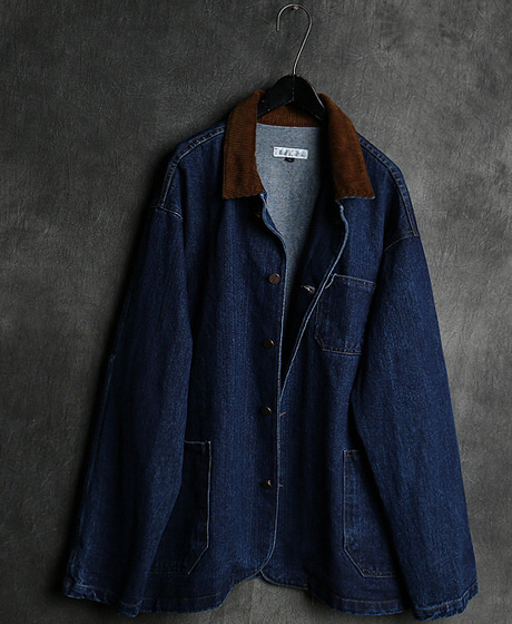JK-9421WASHING CORDUROY KARA NECK DENIM JACKET워싱 골덴 카라 넥 데님 자켓Color : 1 colorMaterial : denim/corduroy